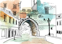 Urban Sketch With Landscape Of The Old European City. Old Street And Archway In Hand Drawn Style On Watercolor Background.