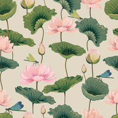 Fototapetaeamless pattern with lotuses and dragonflies
