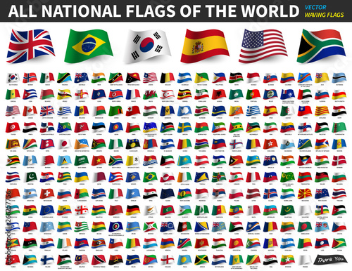 Obraz All national flags of the world . Waving flag design . Vector - fototapety do salonu
