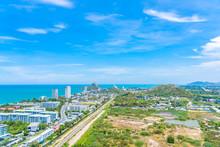Beautiful Landscape And Cityscape Of Hua Hin Nearly Sea Beach And Ocean