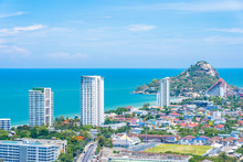 Beautiful Landscape And Cityscape Of Hua Hin Nearly Sea Beach And Ocean
