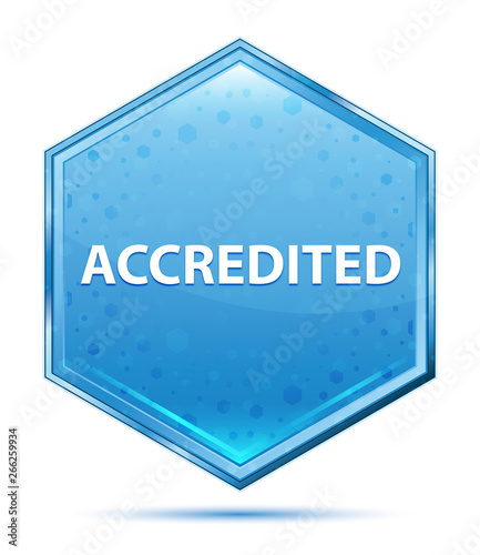 Photo Accredited crystal blue hexagon button