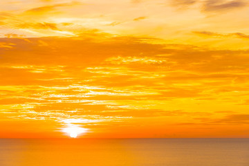 Beautiful tropical outdoor nature landscape of sea ocean at sunrise