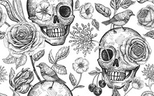Floral Seamless Pattern With Symbols Of Day Dead. Skulls, Blooming Rose Flowers And Birds.
