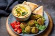 Falafel, hummus and pita bread appetizer. Arabian or vegetarian cuisine