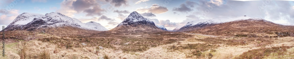 Fototapety, obrazy: Fresh snow covered peaks of mountains in Scotland