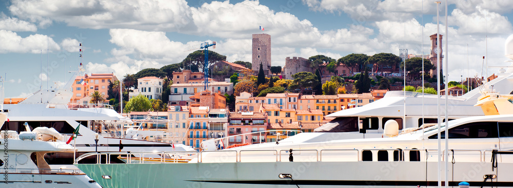Fototapety, obrazy: Cropped view of Le Suquet- the old town and Port Le Vieux of Cannes, France
