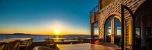 Open Air Restaurant At Sunset
