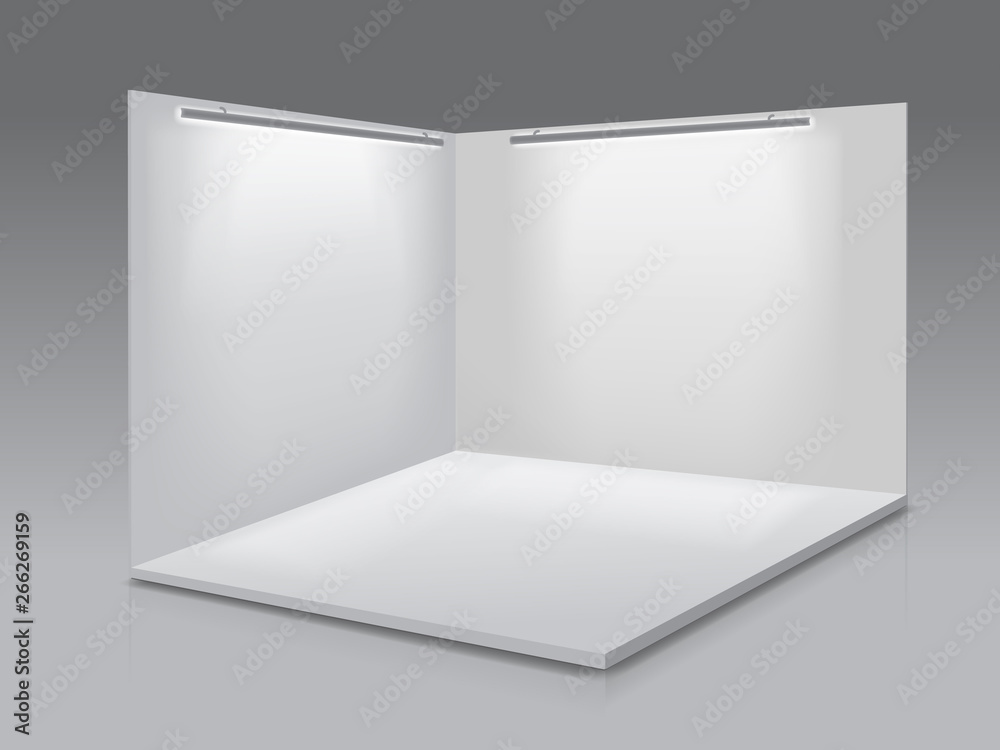 Fototapeta Blank display exhibition stand. White empty panels, Podium for presentations on the gray background 3d