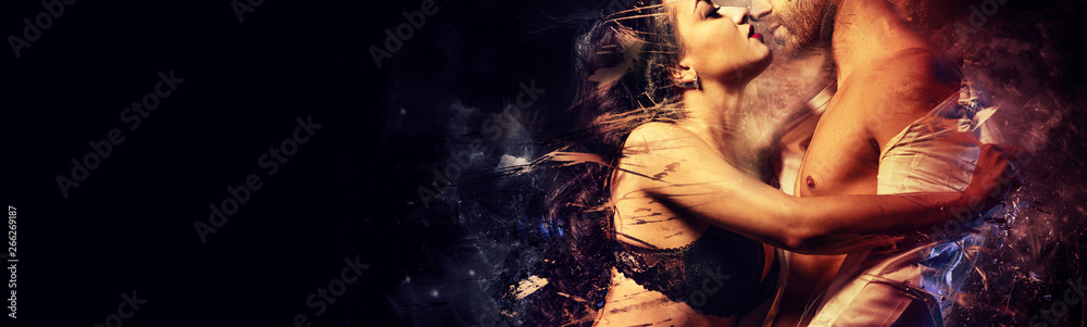 Fototapety, obrazy: Gorgeous passionate couple in love kissing embracing. Sensual brunette in black lingerie and handsome man undress shirt having sex. Digital art generated altered image, romantic relationships concept