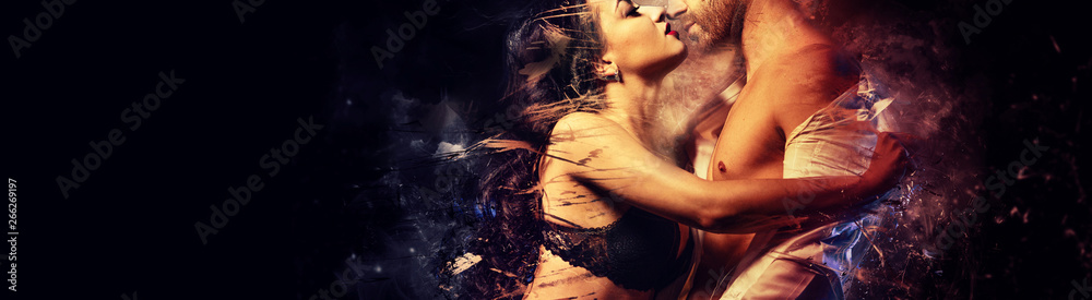 Fototapety, obrazy: Beautiful passionate couple in love kissing embracing. Sensual brunette in black lingerie and handsome man undress shirt having sex. Digital art generated altered image, romantic relationships concept