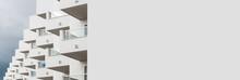 Panoramic Image White Modern House In Ibiza. Spain