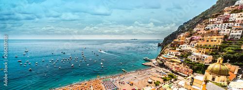 La pose en embrasure Piscine Panoramic image Amalfi coast. Positano, Italy