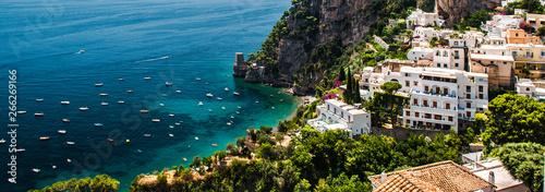 Picturesque panoramic image of Amalfi coast, hillside houses turquoise bay of Mediterranean Sea. Positano, Italy - 266269166