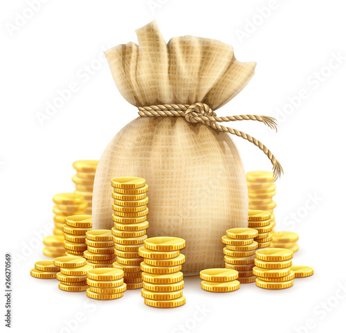 Fototapeta Full sack of cash money corded with rope and heaps of gold coins. Banking concept financial realistic icon of moneybag. Isolated on white transparent background. Gradient mesh used. Illustration. obraz