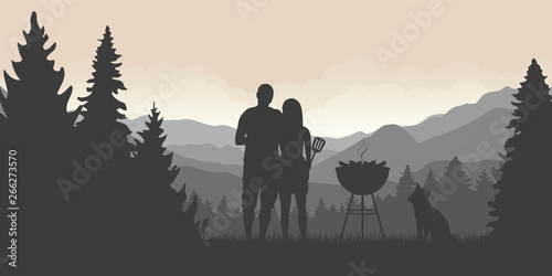 Fototapety, obrazy: bbq time couple with dog and kettle barbecue in forest and mountain view vector illustration EPS10