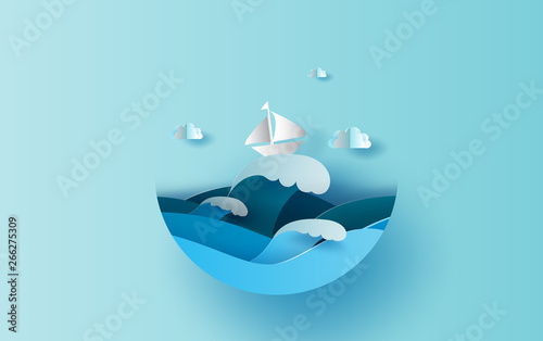 Fotomural Illustration of travel in holiday summer season circle concept
