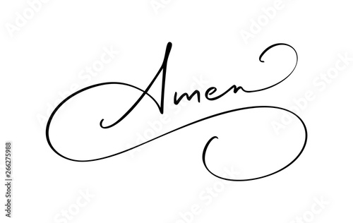 Amen vector calligraphy Bible text Canvas Print