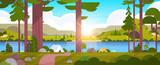 namioty obszar kempingowy w lesie koncepcja obozu letniego słoneczny dzień wschód słońca krajobraz natura tło z wodnymi górami i wzgórzami płaskimi poziomymi