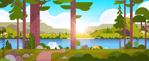 Foto tents camping area in forest summer camp concept sunny day sunrise landscape nat