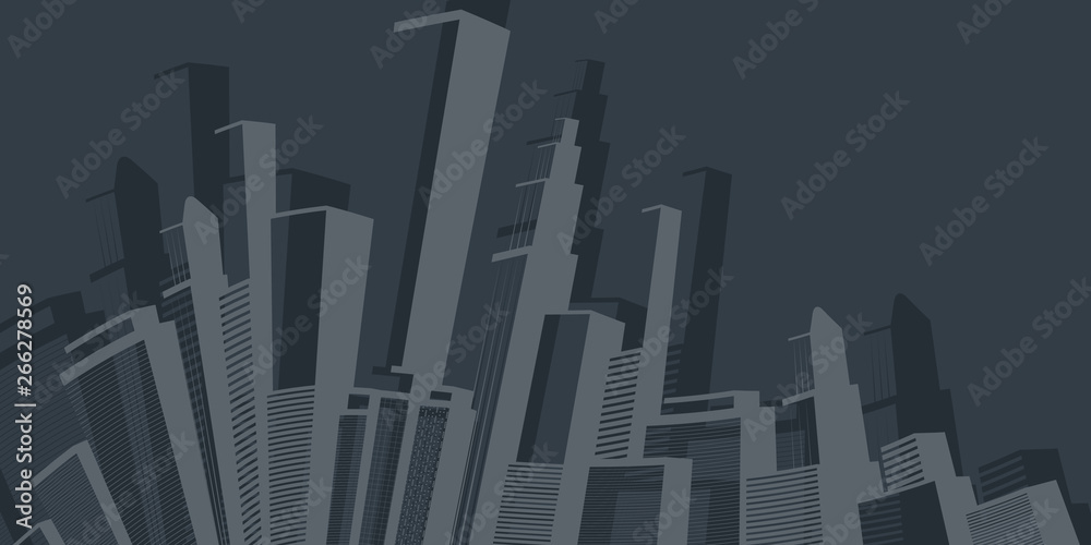 Fototapeta     Metropolis - Abstract Black and White Urban Cityscape Silhouette, Vector Design