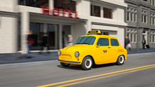3d Illustration Of Yellow Taxi Car On City Street In Motion.