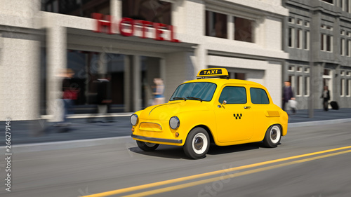Fotografie, Obraz 3d illustration of yellow taxi car on city street in motion.