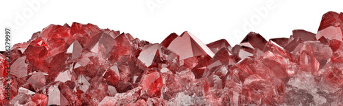 deep color ruby gemstone strip on white