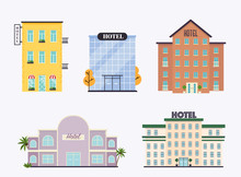 Set Of Hotels Facade. Ideal For Market Business Web Publications And Graphic Design. Flat Style Vector Illustration.