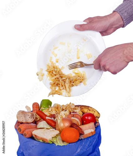 Obraz na plátně essen, lebensmittel wird entsorgt, küchenabfall, essensreste, bio müll, verschwe