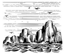 Sea Cliffs And Seagulls Landscape