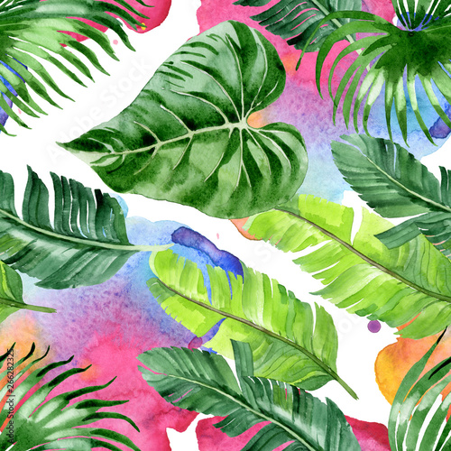 Palm beach tree leaves jungle botanical. Watercolor background illustration set. Seamless background pattern. Wall mural