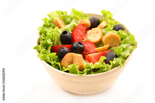 Poster de jardin Nature vegetable salad with tomato, olive and crouton