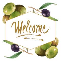 Panel Szklany Do restauracji Fresh olives healthy food. Watercolor background illustration set. Frame border ornament square.