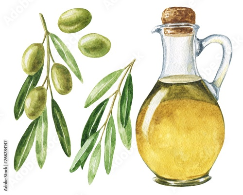 Fototapeta Hand drawn watercolor olive oil set with leaves and brunches isolated on white background. Realistic food illustration. obraz