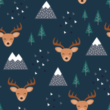 Reindeer Seamless Pattern Background, Happy Cute Deer In The Forest Between Mountain Tree And Cloud, Cartoon Reindeer Vector Illustration For Kids Forest Background With Triangle Dots