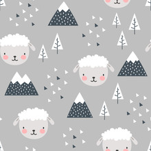 Sheep Seamless Pattern Background, Scandinavian Happy Cute Lamb In The Forest Between Mountain Tree And Cloud, Cartoon Sheep Vector Illustration For Kids Nordic Background With Triangle Dots