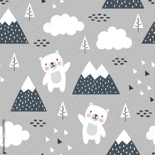 Szczęśliwy słodki miś w lesie między górskim drzewem a chmurą, kreskówka niedźwiedzie panda wektor ilustracja dla dzieci tło lasu z kropkami trójkąta