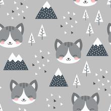 Cat Seamless Pattern Backgroun...