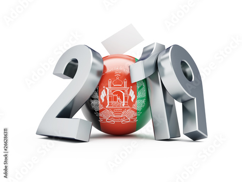 Presidential election in Afghanistan 2019 on a white