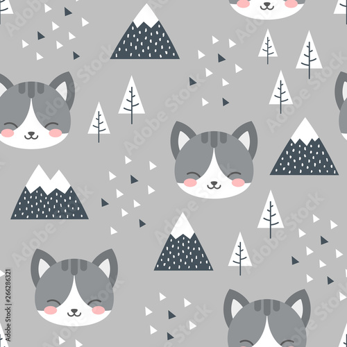 Tapety do pokoju chłopca  cat-seamless-pattern-background-scandinavian-happy-cute-kitty-in-the-forest-between-mountain-tree-and-cloud-cartoon-kitten-vector-illustration-for-kids-nordic-background-with-triangle-dots