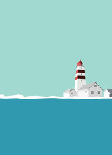 Lighthouse With Red Stripes Wi...