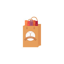 Bag Of Books Vector Icon. Book Shop Concept. Shopping Bag And Book. Vector  Illustration