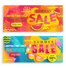 Set Of Summer Sale Banners, Fl...