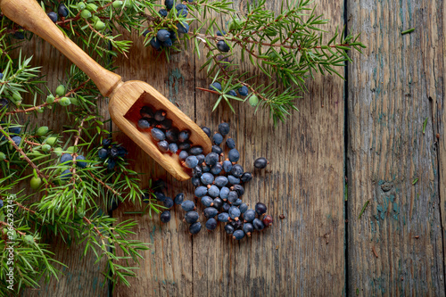Juniper branch and wooden spoon with berries on a wooden background.