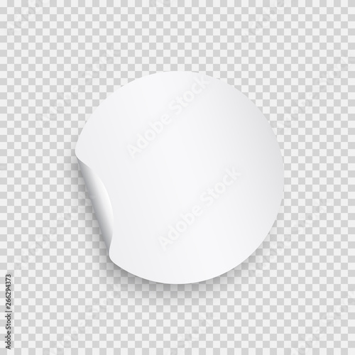 Fényképezés  Round paper sticker template with bent edge