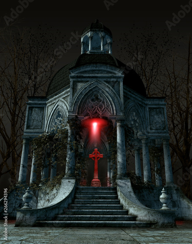 Fotografía  Gothic mausoleum tomb with a gravestone situated in the center of the interior s