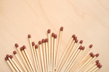 Matchsticks In A Row On Wooden...