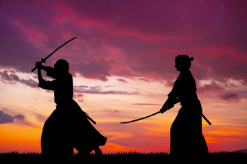 two Samurai with sword at s...