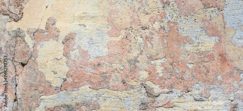 Deurstickers Oude vuile getextureerde muur Old Wall With Peel Grey Stucco Texture. Retro Vintage Worn Wall Background. Decayed Cracked Rough Abstract Banner Surface.